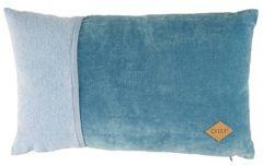 Blauwe Oilily Velvet Morning Sierkussen 30x50 cm - Blauw/Grijs