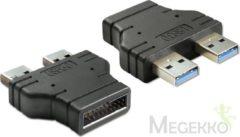 Delock USB 3.0 Adapter [1x USB 3.0 stekker intern 19-polig - 2x USB 3.0 stekker A] Zwart