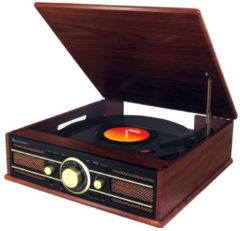 Soundmaster PL550BR Nostalgie-Plattenspieler, im Holzdesign, UKW-Radio, Encoding
