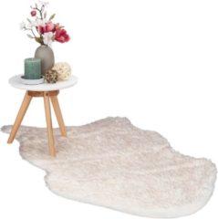Relaxdays Vloerkleed schapenvacht - imitatie schapenvacht - schapenvacht kleed - wit-rosé 70x120cm