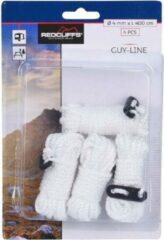 Redcliffs 8x Witte scheerlijnen / touwen - Met gatspanners - 4 mm x 4 meter - Tent scheerlijn - Tuin/camping benodigheden