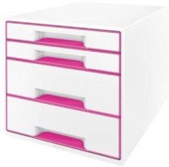 Leitz WOW Cube Ladenblok Met 4 Laden - Opberger met Vakken - Voor Kantoor En Thuiswerken - Ideaal Voor Thuiskantoor - Wit/Roze