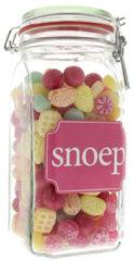 Gele KINDLY'S WECKPOT met OUD HOLLANDS snoepjes. Boterwafeltjes, framboosjes en snoepkussentjes