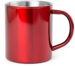 Shoppartners 1x Drinkbeker/mok rood 280 ml - RVS - Rode mokken/bekers voor onbijt en lunch