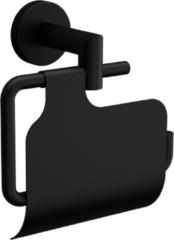 Muebles Line toiletrolhouder met deksel mat zwart