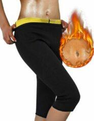 Zwarte Merkloos / Sans marque Driekwart gewichtsverliesbroek voor dames. 2/3 lengte, net onder de knieën. Verhoog je lichaamswarmte en laat je veel meer transpireren dan normale sport kleding. Houd er rekening mee dat de maten klein zijn. Maat M