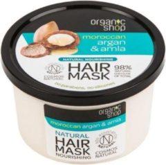 Organic Shop Voedend haarmasker met Argan olie en Amla poeder, droge haar, broze haar, masker met natuurlijke ingrediënten, biologisch, Russische merk 250ml