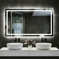 Aica Sanitair Badkamerspiegel 120x80cm LED spiegel met verlichting,wandspiegel,enkele touch schakelaar,anti-condens,koud wit