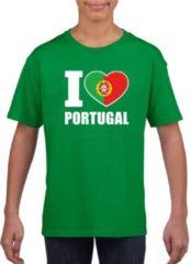 Shoppartners Groen I love Portugal supporter shirt kinderen - Portugees shirt jongens en meisjes XL (158-164)