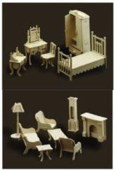 Bruine Merkloos / Sans marque Poppenhuis meubels slaapkamer en woonkamer