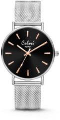 Colori XOXO 5 COL444 Horloge met Mesh Band - Ø36 mm - Zilverkleurig en Zwart