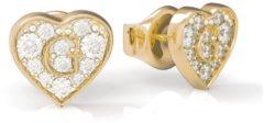 Witte Guess stalen goldplated oorbellen hart G SHINE