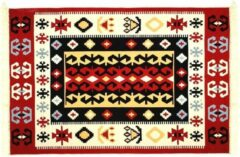 Rode De Groen Trade Kelim vloerkleed 160 x 250 - Katoen Tapijt - Kilim - Oosterse motieven