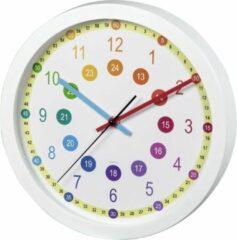 """Witte Hama Wandklok voor kinderen """"Easy Learning"""", diameter 30 cm, geluidsarm"""