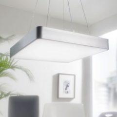 Wohnling LED-Büroleuchte SQUARE Arbeitspendelleuchte 64W silber 5440 Lumen Pendelleuchte EEK A+ Design Arbeitsplatz Hängelampe kaltweiß Office Leuc