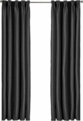 Larson - Luxe Hotel Serie Blackout Gordijn - Visgraat motief - Haken - Zwart - 150 x 250 cm - Verduisterend & kant en klaar