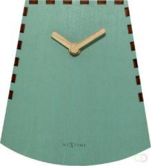 NeXtime Rocky - Tafelklok - Hout - Still uurwerk - Ø 20 cm - Turquoise
