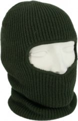 Donkergroene One hole muts / skimuts - legergroen - one size - outdoor / bivak / wintersport - warme eengaats balaclava