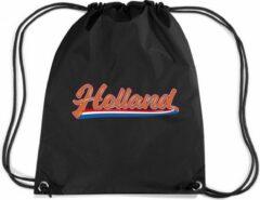 Bellatio Decorations Holland wimpel met Nederlandse vlag rugzakje - nylon sporttas zwart met rijgkoord - oranje supporter - EK/ WK voetbal / Koningsdag