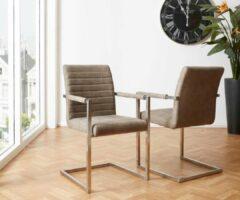 DELIFE Keukenstoel Earnest taupe vintage frame metaal cantilever stoel