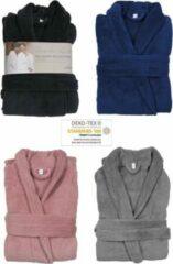 Donkergrijze Geen merknaam Luxe badjas - maat L / XL - microfiber - MICRO FLEECE - badjas - bad jas - ochtendjas – donker grijs