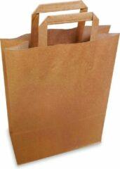 Bruine Papieren draagtas 260+120 x 350mm 250 stuks + kortpack pen (019.0013)