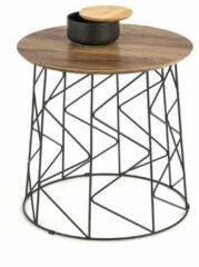 Bruine Gebor Ronde Koffietafel – Bijzettafeltje – Walnoot– Glazen Blad – Vintage Look – Hollywood Regency Stijl – Staal – 50x50x50cm