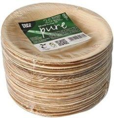 Bruine Merkloos / Sans marque 25x Duurzame en biologisch afbreekbare schalen palmblad 15 cm - Milieuvriendelijk/ecologisch - Wegwerp schaaltjes