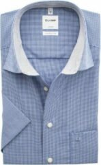 OLYMP Luxor comfort fit overhemd - korte mouw - donkerblauw met wit geruit (contrast) - Strijkvrij - Boordmaat: 41