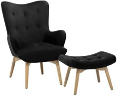 Beliani Sessel mit Hocker - Fauteuil met hocker - Zwart - Fluweel