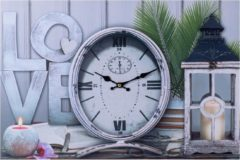 XL Canvas Schilderij Wandklok LOVE & LANTAARN met Klok - Wand Klok Landelijk / Brocante - Canvasklok - Canvas Wandklokken met Klok - Keukenklok - Muurklok Wand Klok - Afm. 60 x 40 Cm - Decopatent®
