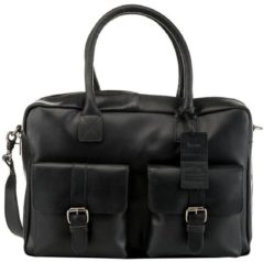 Zwarte Laptoptas Burkely Finn Vintage Businessbag Classic Black 14 inch