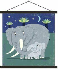 TextilePosters Een illustratie van een grote olifant met een baby olifant schoolplaat platte latten zwart 40x40 cm - Foto print op textielposter (wanddecoratie woonkamer/slaapkamer)