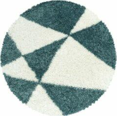 TANGO SHAGGY Himalaya Maxima Soft Shaggy Rond Hoogpolig Vloerkleed Blauw / Wit- 80 CM ROND