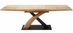 Home Style Uitschuifbare eettafel Sandor 160 tot 220 cm breed in goud eiken met zwart