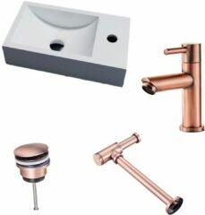 Lambini Designs Recto solid surface fonteinset met koper kraan rechts en toebehoren