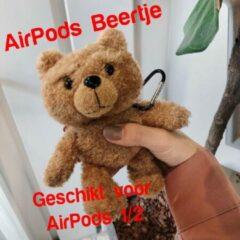 AirPods 1/2 Case Teddy Beertje   Beschermhoes voor AirPods 1/2   AirPods Hoesje Teddy Beer Lichtbruin   Smartphonica