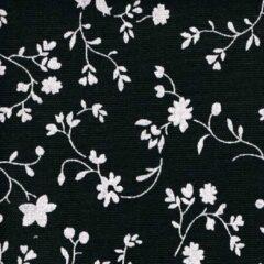Acrisol Erei Negro 203 zwart wit gebloemd stof per meter buitenstoffen, tuinkussens, palletkussens