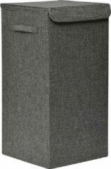Donkergrijze Gebor Praktische Opvouwbare wasmand met deksel en handvaten, 60x30x30cm – Heather Grey – Was sorteerder – Wasmand – Opbergmand – Opvouwbaar – Draagbaar – MDF/Polyester