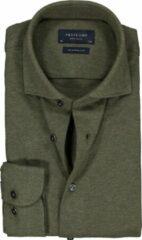 Profuomo Slim Fit jersey overhemd - army groen melange knitted shirt - Strijkvrij - Boordmaat: 38