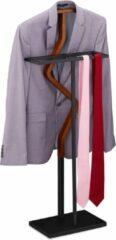 Zwarte Relaxdays dressboy staal - bruin - kledingstandaard - kledingbutler - kledingrek - hout
