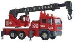 Rode Kids Globe Brandweer kraan met licht en geluid - Speelgoedvoertuig: 15 cm