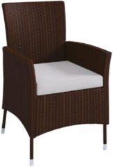 Polyrattan Stuhl Stühle Rattan Gartenstühle Sessel Gartensessel Braun VCM 1x Stuhl