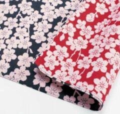 Marineblauwe MUSUBI Furoshiki - Japanse Doek - Wandkleed   Kersenbloesem - 104cm