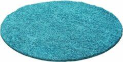 Decor24-AY Hoogpolig vloerkleed Dream - turquoise - rond - 80x80 cm