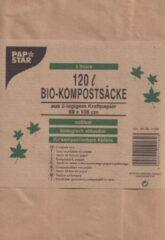 Papstar Bio Compost Afvalzak - 120 L - bruin kraftpapier - 3 stuks