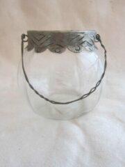 Zilveren ZoeZo Design Waxinelichthouder, glas met metaal. 11 x 11 cm Ø