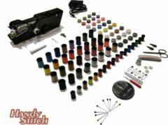 Zwarte Handy Switch Handy Stitch - PREMIUM Handnaaimachine met Adapter en 140 Delige Starteskit - Compact - Draadloos - Draagbare reis naaimachine - Incl. 82 Spoelen garen - Elektrisch of op Batterijen