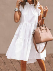 Newchic Solid Color Ruffled Collar Sleeveless Casual Pleated Dress