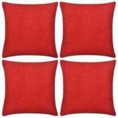Rode VidaXL Kussenhoezen katoen 50 x 50 cm rood 4 stuks